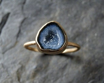 Small Geode Druzy Ring in Solid 14K Yellow Gold - CUSTOM MADE