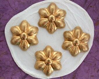Brass Flower Stampings, Metal Stamped Flowers, Vintage Style Metal Flowers STA-107