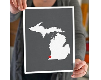 Michigan State Map Custom Personalized Heart Print I Love USA Hometown Wall Art Gift Souvenir Detroit Grand Rapids