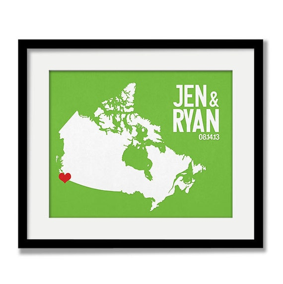 Unique Wedding Gifts Canada : Canada Wedding Gift - Personalized International Map - Custom ...