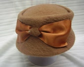 Tawny Brown Wool Pillbox Hat – Vintage Clothing Retro Steampunk Mid Cent
