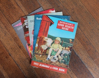 Instant Collection - Set of 5 Vintage Rawleigh's Good Health Guide Magazines (Almanac and Cook Book - 1955, 1956, 1957, 1958 and 1959)