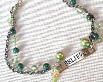 "Statement Bracelet, "" Believe""  Bracelet, Silver and Green Beaded Bracelet, Unique HOLIDAY Jewelry, Cyber Sale, Holiday Jewelry Sale"