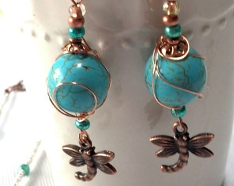 Dragonfly Earrings, Copper Wire wrapped , Magnesite Dangle Dragonfly Earrings, Antiqued Copper Custom Earring, Spring Jewelry Sale