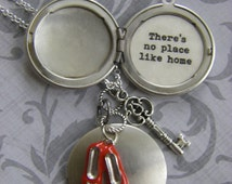 There's No Place Like Home Locket,  Wizard Of Oz Necklace, Dorothy, Red Slippers, Silver Locket, Graduation Gift .Leaving Home