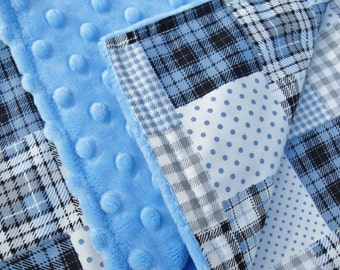 Baby Boy Blanket Large in Blue Patchwork  Cotton Fabric with Blue Super soft Minky