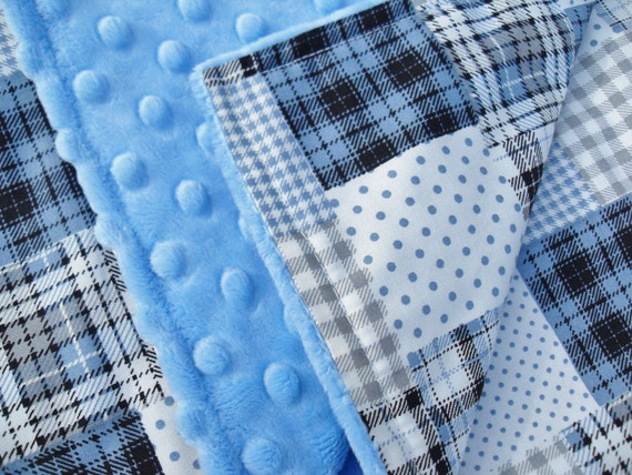 Baby boy blanket large in blue patchwork cotton fabric with for Boys cotton fabric