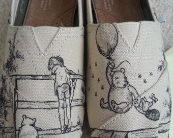 Classic Winnie the Pooh Christopher Robin Piglet Custom Made Shoes ARTWORK and SHOES INCLUDED
