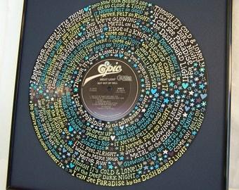 Meat Loaf Paradise Lyrics Handpainted on Vinyl Record
