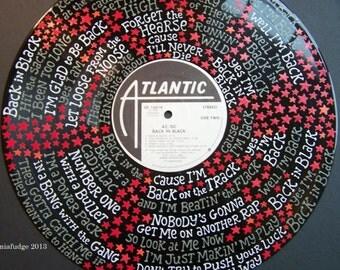 AC/DC Back in Black Lyrics Handpainted on Vinyl Record