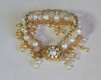 Bridal Pearl Bracelet Pearl Gold Wedding Bracelet Pearl Rhinestone Vintage Style Wedding Bracelet Victorian Style Drop Pearls Antique Look