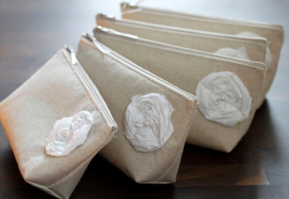 Set of 6 + ONE FREE nuetral raw linen Bridesmaid Clutches, Clutch Purse, Fall Wedding, Rustic Wedding, Bridesmaid Gifts