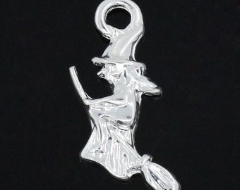 Silver Witch Charms - Antique Silver - 21x8mm - 5pcs - Ships IMMEDIATELY  from California - SC771
