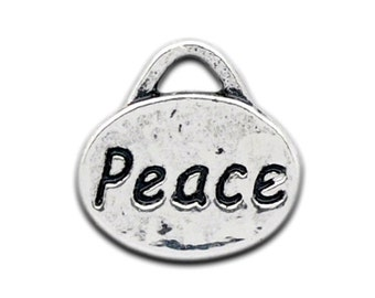 10 Peace Charms - Tags Stamped - Antique Silver - 11x11mm - Ships IMMEDIATELY from California - SC891