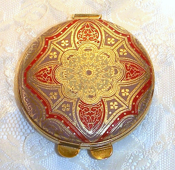 Vintage Leather Compact Mirror Italy Purse By