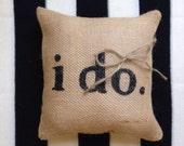 i do. : Ring Bearer Pillow in black or ivory