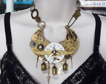 Steampunk, Vintage Gears, Waltham Clockface, Lightbulbs, Clock hands, Wings, Eye, Time Zones Neckpiece