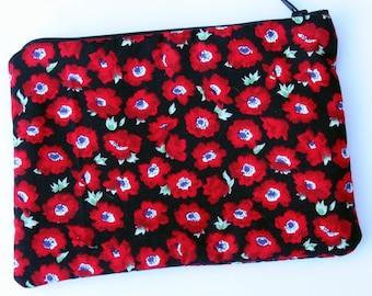 Red & Black Poppy Cosmetics / Make up Bag