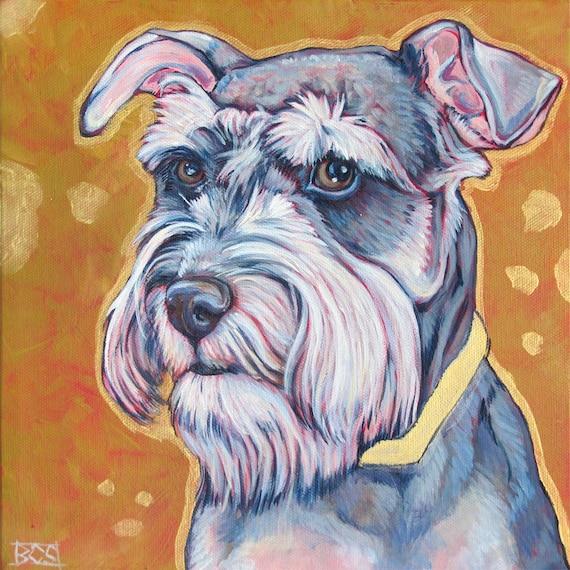 Schnauzer Drawing Easy: 10 X 10 Custom Pet Portrait Original Painting In