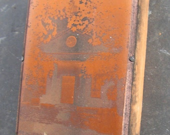 1800s Scotland Congregational Church Engraved Photograph Copper on Wood Block Connecticut