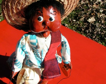 late 40s Cloth and Red Clay Paint Mexican Puppet Marionette Leather Huaraches HandMade Folk Art