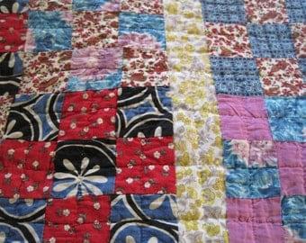 Nine patch hand  made vintage quilt