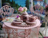 Dollhouse Miniature Shabby Chic Vintage Farmhouse Style Pink Ceramic Tea Set for One with Detailed Roses Motif