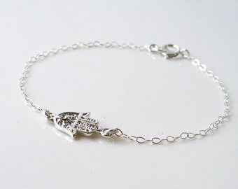 Hamsa Bracelet. Silver Plated Lucky Charm with a Sterling Silver Chain. Simple and Modern Jewelry by SmallBlueThings ~ Valentine's Day