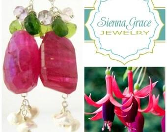 Ruby Moonstone Earrings Fuchsia Hot Pink Gemstone Earring Bridal Jewelry Moonstone Jewelry OOAK Gift