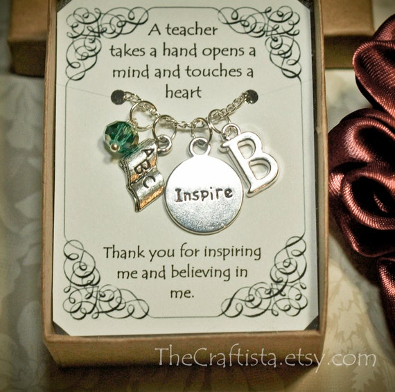 Personalized Handmade Christmas Gift Guide: Personalized Teacher Necklace With Birthstone And Initial T-03