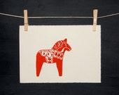 Dala Horse - LINOCUT - Hand printed