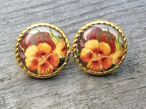Hibiscus Hawaiian Flower Tropical Stud Earring Floral Large Circle Vintage Retro UK Jewellery Red Yellow Green Quirky