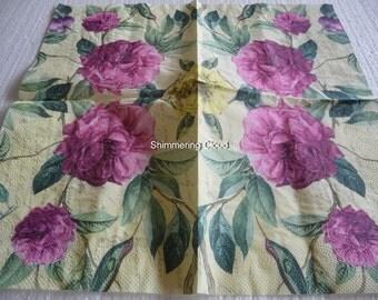 Flower, Floral, Paper Napkins, Decoupage, white,  multicolor, Scrapbooking, spring, pale, 2 pcs