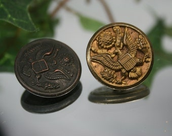 Vintage Metal Military Buttons- 2pc