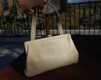 VINTAGE bone LEATHER handbag SATCHEL purse bag small kelly