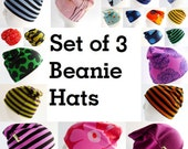 Beanie Hat Set of 3 - Marimekko - Any Color or Size