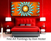 Painting 24x48 wall art abstract landscape wall decor by HesterPaintings