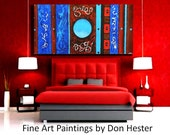 """abstract  Painting, paintings, acrylic paintings,  Large 24x48 canvas, """"Blue Moon"""",  one of a kind, HesterPainting by Don Hester"""