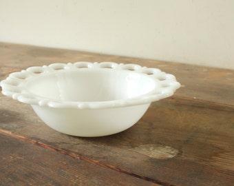 Vintage Serving Bowl White Milk Glass Bowl Cottage White Kitchen White Dishes Scalloped Lace Rim Wedding