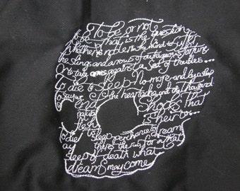 Shakespeare Hamlet Skull Black Bib Apron - DISCOUNTED FOR FLAW