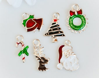 STORE CLOSING! ChrmE322 - Silver Plated Enamel Christmas Charms - Set of 6