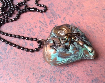 Diamond in the Rough 003 - Mended Broken Heart Pendant Necklace - Metal Coated Copper Patina - Magnifying Glass