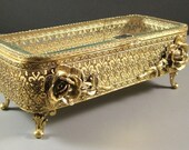 Elegant Stylebuilt Ormolu Jewelry Casket / Large Dresser Trinket Box /  with ORIGINAL Tag