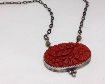 Bezel Set Carved Coral Sterling Silver Necklace