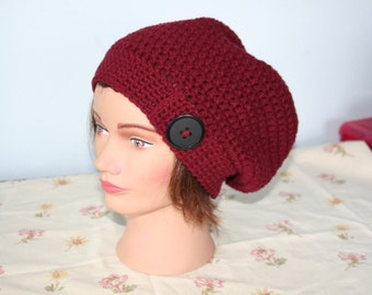 burgundy tam slouch hat with black button