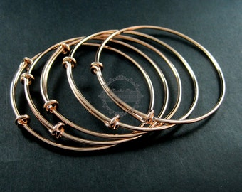 4pcs 65mm diameter rose gold plated brass simple adjustable wiring bracelet for beading DIY jewelry supplies 1900044