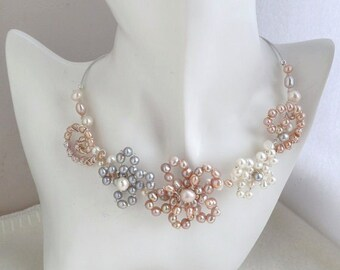 Statement Wire Work Flowers Collar Necklace with Freshwater Cultured Pearls