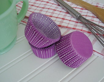 Cupcake Liners  Baking Cups Paper Liners Purple Polka  Dots  Little Dotties   Standard  50 pack