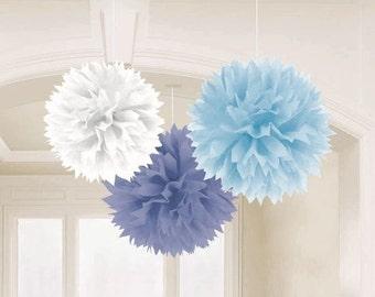 "Blue  Tissue Pom poms  Mixed set of Blue and white Paper Tissue Pom Poms DYI Wedding  14 """
