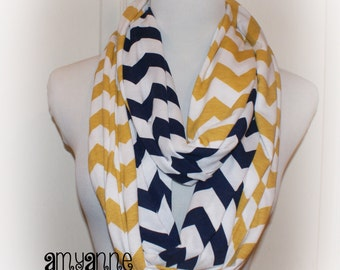 SALE Navy Blue and Mustard Gold Yellow Jersey Knit 2 Pair School Team Colors Chevron Infinity Scarf Scarves Amy Anne